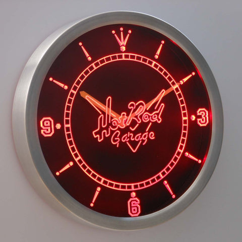 Hot Rod Garage LED Neon Wall Clock - Red - SafeSpecial