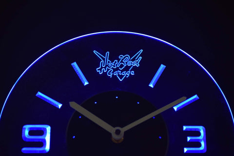 Image of Hot Rod Garage Modern LED Neon Wall Clock - Blue - SafeSpecial