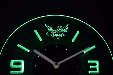 Hot Rod Garage Modern LED Neon Wall Clock - Green - SafeSpecial