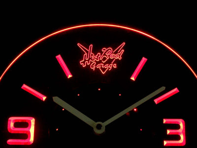 Hot Rod Garage Modern LED Neon Wall Clock - Red - SafeSpecial