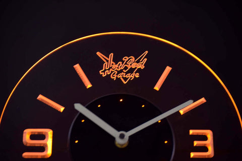 Image of Hot Rod Garage Modern LED Neon Wall Clock - Yellow - SafeSpecial