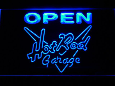 Image of Hot Rod Garage Open LED Neon Sign - Blue - SafeSpecial