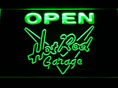 Hot Rod Garage Open LED Neon Sign - Green - SafeSpecial