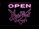 Hot Rod Garage Open LED Neon Sign - Purple - SafeSpecial