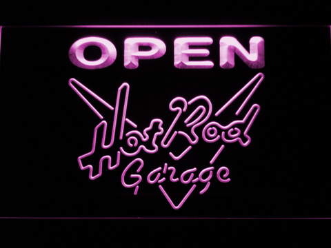 Image of Hot Rod Garage Open LED Neon Sign - Purple - SafeSpecial