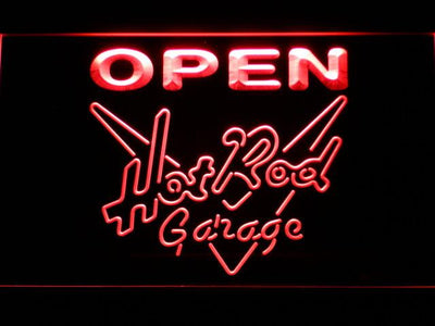 Hot Rod Garage Open LED Neon Sign - Red - SafeSpecial