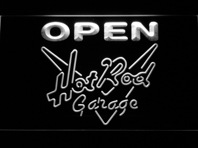 Hot Rod Garage Open LED Neon Sign - White - SafeSpecial