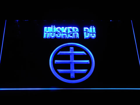 Husker Du Logo LED Neon Sign - Blue - SafeSpecial
