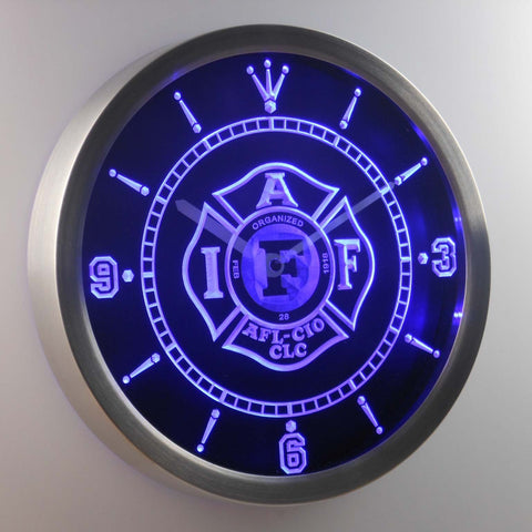 Image of IAFF International Association of Fire Fighters LED Neon Wall Clock - Blue - SafeSpecial
