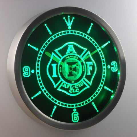 Image of IAFF International Association of Fire Fighters LED Neon Wall Clock - Green - SafeSpecial