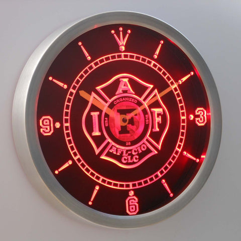 Image of IAFF International Association of Fire Fighters LED Neon Wall Clock - Red - SafeSpecial