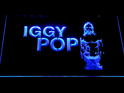 Iggy Pop LED Neon Sign - Blue - SafeSpecial