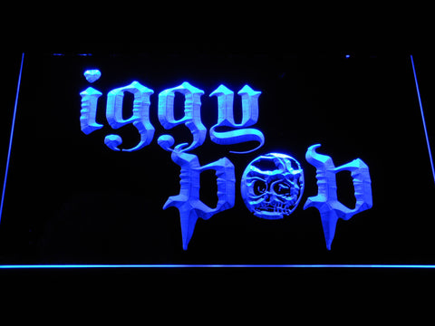 Iggy Pop Skull Ring LED Neon Sign - Blue - SafeSpecial