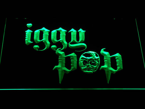 Iggy Pop Skull Ring LED Neon Sign - Green - SafeSpecial