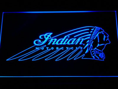 Indian Chief LED Neon Sign - Blue - SafeSpecial