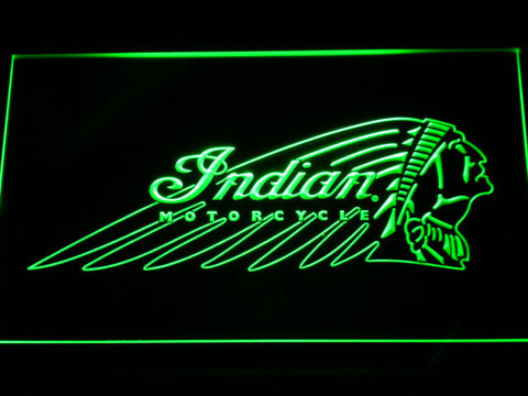 Indian Chief LED Neon Sign - Green - SafeSpecial