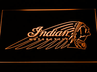 Indian Chief LED Neon Sign - Orange - SafeSpecial