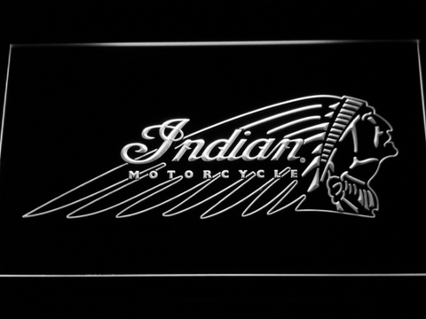Indian Chief LED Neon Sign - White - SafeSpecial