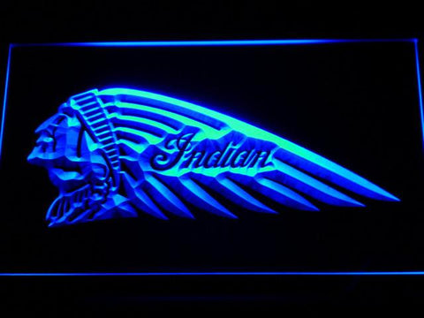 Indian Chief Left Facing LED Neon Sign - Blue - SafeSpecial