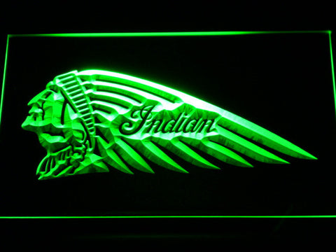Indian Chief Left Facing LED Neon Sign - Green - SafeSpecial