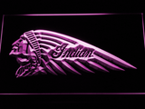 Indian Chief Left Facing LED Neon Sign - Purple - SafeSpecial