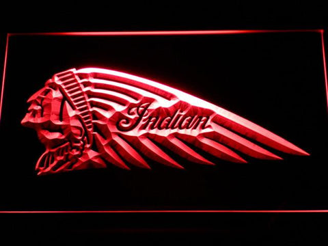 Indian Chief Left Facing LED Neon Sign - Red - SafeSpecial