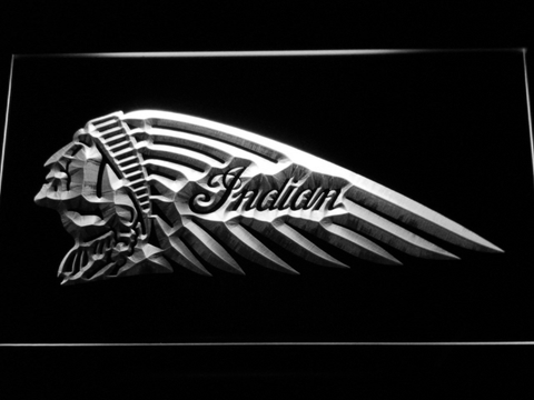 Indian Chief Left Facing LED Neon Sign - White - SafeSpecial