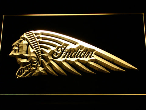 Indian Chief Left Facing LED Neon Sign - Yellow - SafeSpecial