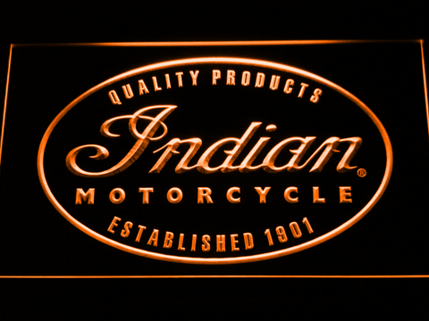 Indian Established 1901 LED Neon Sign - Orange - SafeSpecial