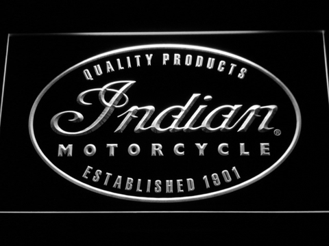 Indian Established 1901 LED Neon Sign - White - SafeSpecial