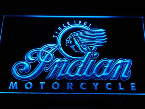 Indian Old Logo LED Neon Sign - Blue - SafeSpecial