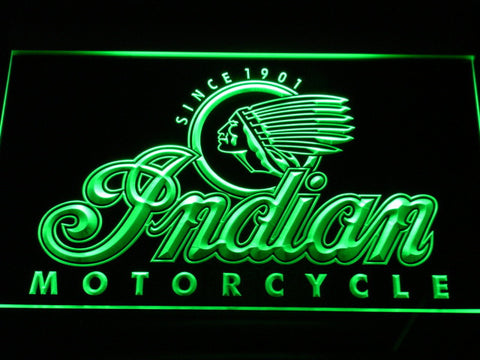 Indian Old Logo LED Neon Sign - Green - SafeSpecial