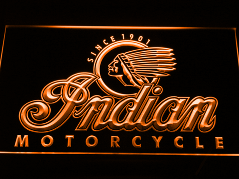 Indian Old Logo LED Neon Sign - Orange - SafeSpecial