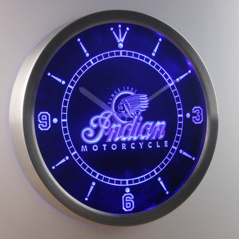 Image of Indian Old Logo LED Neon Wall Clock - Blue - SafeSpecial