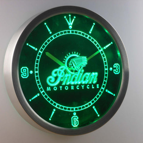 Image of Indian Old Logo LED Neon Wall Clock - Green - SafeSpecial