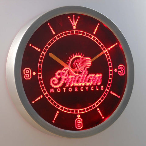 Image of Indian Old Logo LED Neon Wall Clock - Red - SafeSpecial