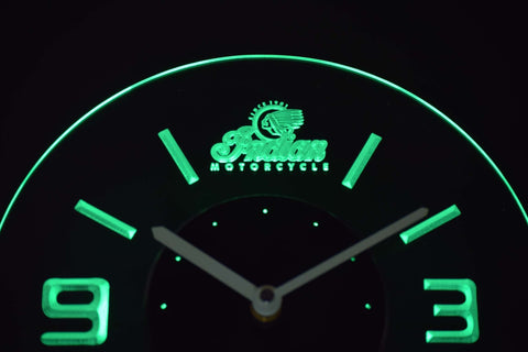 Indian Old Logo Modern LED Neon Wall Clock - Green - SafeSpecial