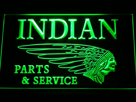 Indian Parts and Service LED Neon Sign - Green - SafeSpecial