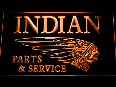 Indian Parts and Service LED Neon Sign - Orange - SafeSpecial
