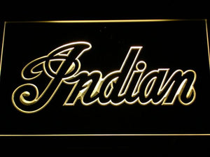 Indian Wordmark Outline LED Neon Sign - Yellow - SafeSpecial
