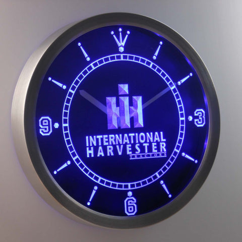 Image of International Harvester Tractors LED Neon Wall Clock - Blue - SafeSpecial