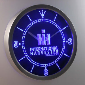 International Harvester Tractors LED Neon Wall Clock - Blue - SafeSpecial