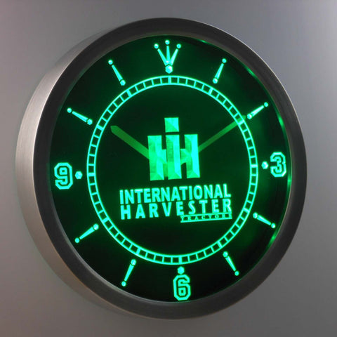 Image of International Harvester Tractors LED Neon Wall Clock - Green - SafeSpecial