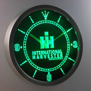 International Harvester Tractors LED Neon Wall Clock - Green - SafeSpecial