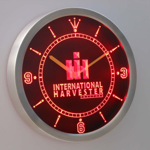 Image of International Harvester Tractors LED Neon Wall Clock - Red - SafeSpecial