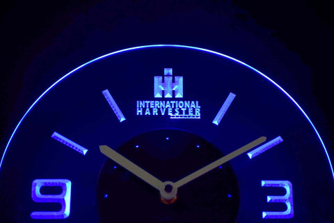 Image of International Harvester Tractors Modern LED Neon Wall Clock - Blue - SafeSpecial