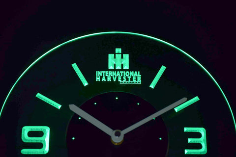 Image of International Harvester Tractors Modern LED Neon Wall Clock - Green - SafeSpecial