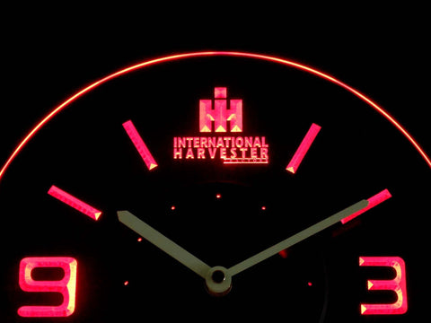 Image of International Harvester Tractors Modern LED Neon Wall Clock - Red - SafeSpecial