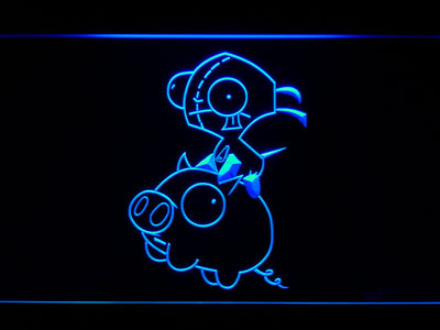 Invader Zim Gir and Piggy LED Neon Sign - Blue - SafeSpecial