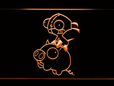Invader Zim Gir and Piggy LED Neon Sign - Orange - SafeSpecial